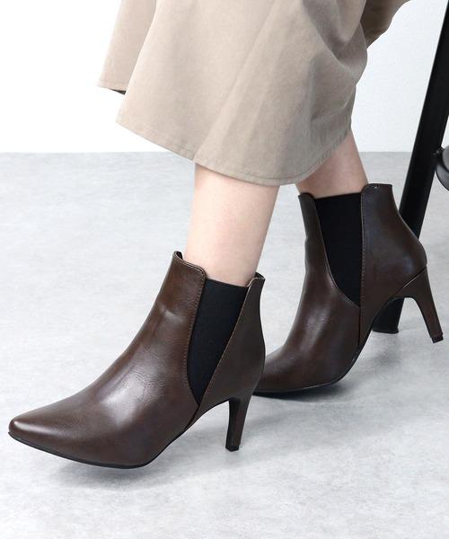 LibertyDoll(リバティードール)の「シルエットと履き心地を追求したピンヒール美脚サイドゴアブーツ(ブーツ)」|ダークブラウン