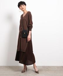 ROPE' mademoiselle(ロペマドモアゼル)の【3WAY】プリーツスカートセットニットワンピース(ワンピース)