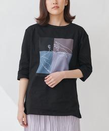 【THE CHIC】グラフィックプリントTシャツブラック