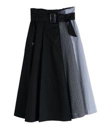 ストライプ×レース切替スカート(スカート)