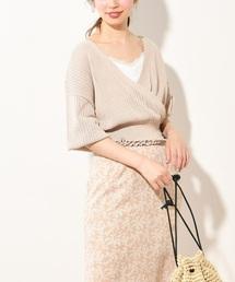 natural couture(ナチュラルクチュール)の透かし柄カシュクールカーディガン(カーディガン)