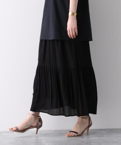 apart by lowrys(アパートバイローリーズ)の「Ryヨウリュウティアードスカート 910395(スカート)」|ブラック