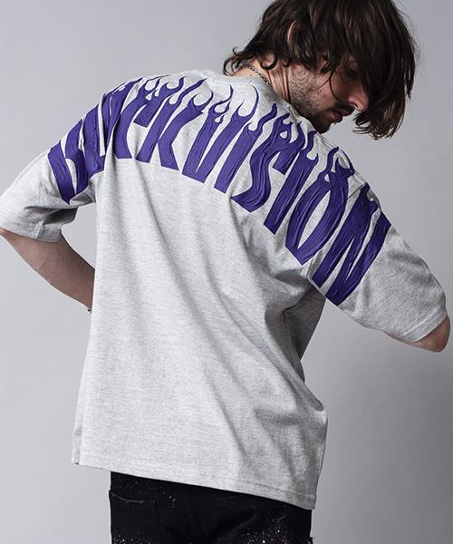 NO ID.(ノーアイディ)の「mt5201-ペイントプリントBIG-T Tシャツ(Tシャツ/カットソー)」|グレー