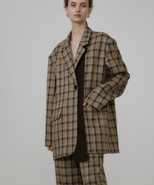 【UNSPOKEN】Plaid suit jacket UQ21W025
