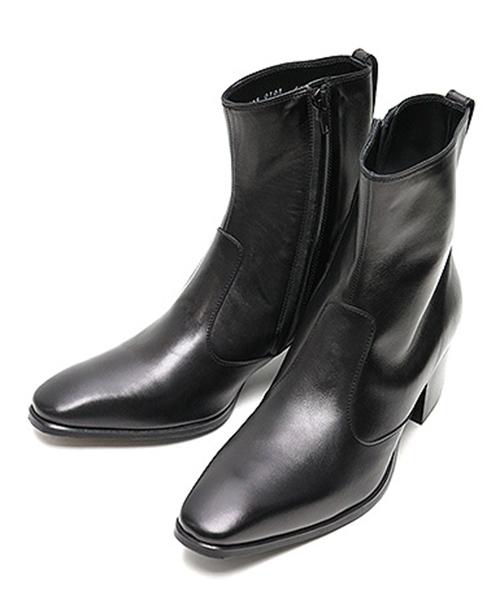 LITHIUM HOMME(リチウム オム)の「SIDE-ZIP HEEL BOOTS(ブーツ)」|ブラック