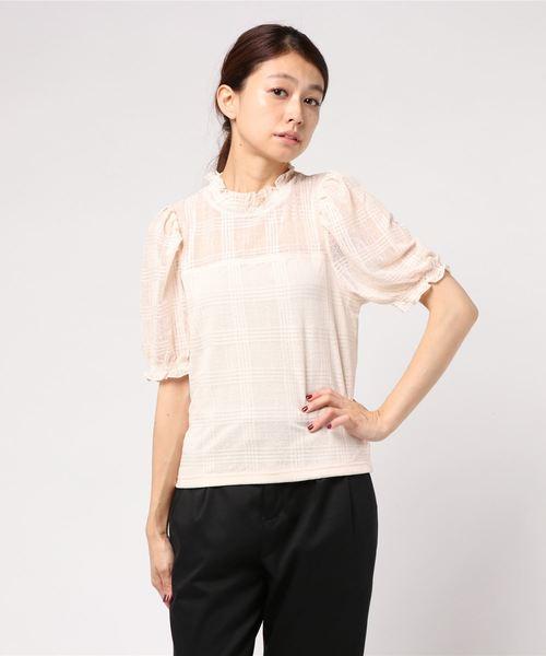 WEGO/チェックチュールパフスリーブTシャツ