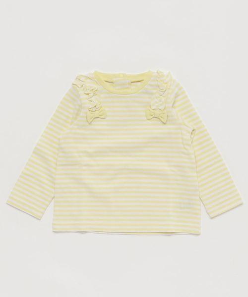 ガールズ ボーダー柄 肩フリルリボン付 長袖Tシャツ 全2柄
