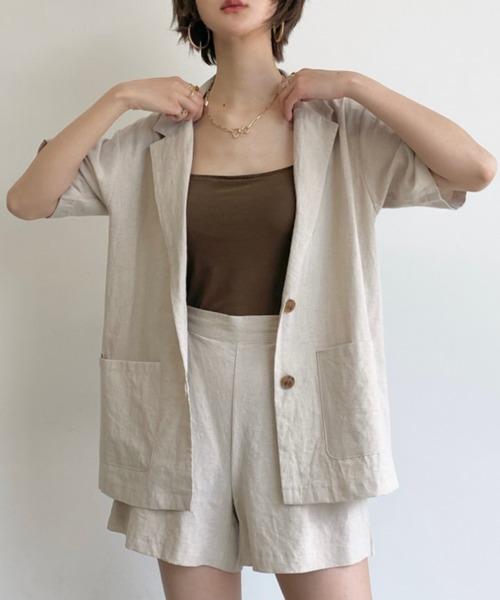 d021d99121c93 Neuna(ヌナ)の麻リネンセットアップハーフスリーブジャケット/半袖ジャケット(その他