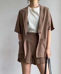 Neuna(ヌナ)の麻リネンセットアップハーフスリーブジャケット/半袖ジャケット(その他アウター)