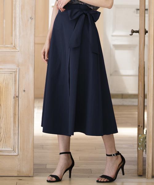 ANAYI(アナイ)の「バイオツイルラップ風スカート(スカート)」|ネイビー