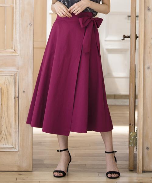 ANAYI(アナイ)の「バイオツイルラップ風スカート(スカート)」|マジェンタ