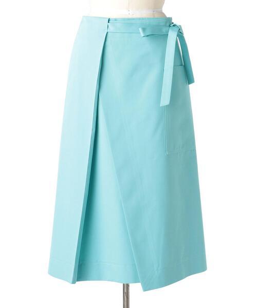 Drawer コットンシルクツイルベルトラップスカート