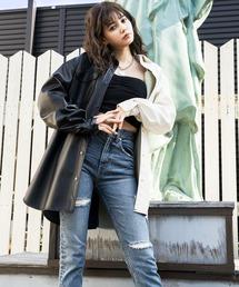 エコレザーシャツジャケットホワイト×ブラック