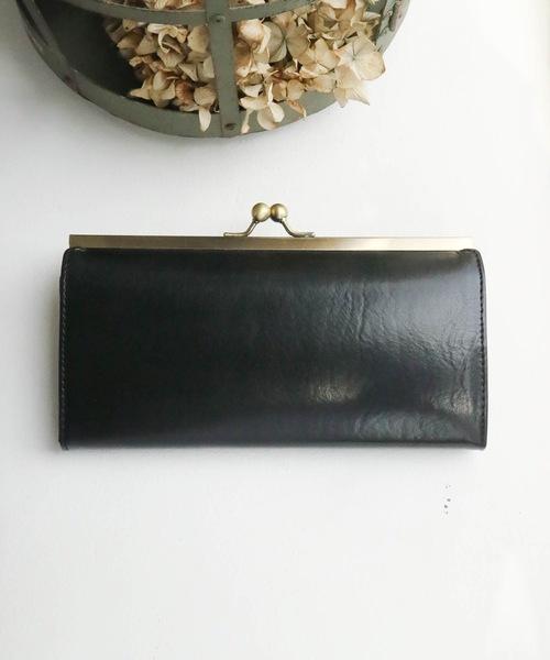 レザー× ガマグチ ロングウォレット leather purse