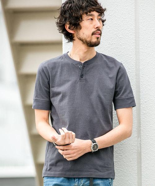 【WEB限定】アメリカンコットンヘンリーネックTシャツ 半袖