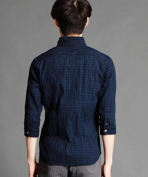 イタリアンカラー7分袖シャツ