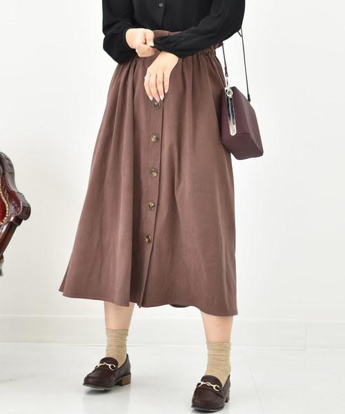 RETROGIRL(レトロガール)の「ハイウエストフロントボタンフレアスカート(スカート)」|ダークブラウン
