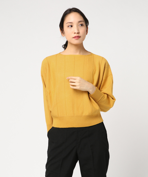 【La・comfy】ストライプ編み ボートネック ドルマンプルオーバー