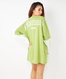 レイヤリングBIGTシャツワンピースグリーン