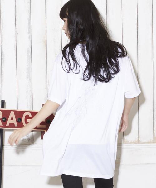 スーパーオーバーサイズ ビッグシルエット フロント&バック刺繍スカビッグTシャツ
