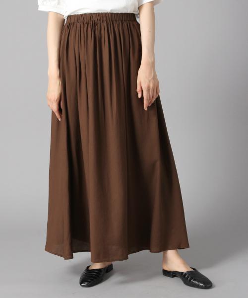 LOWRYS FARM(ローリーズファーム)の「フレンチリネンボイルスカート 844831(スカート)」|ブラウン