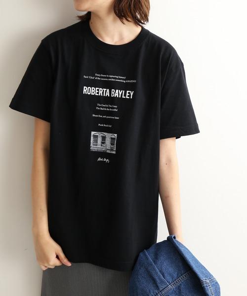 SLOBE IENA(スローブイエナ)の「Roberta Bayley グラフィックTEE【洗濯機洗い可能】◆(Tシャツ/カットソー)」 ブラック