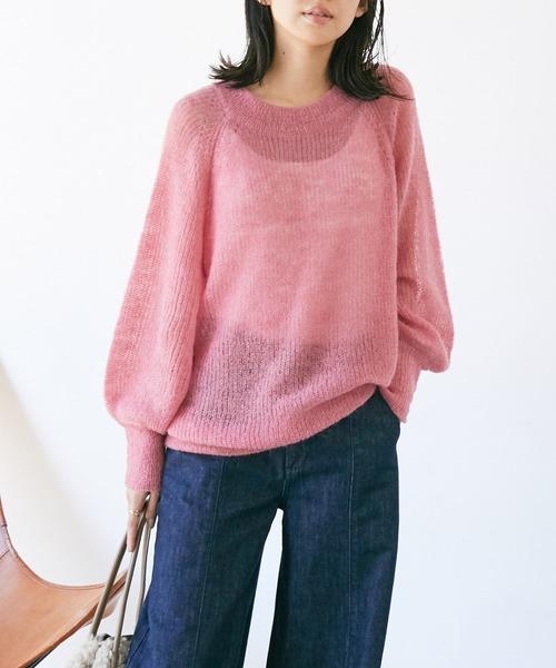 ViS(ビス)の「モヘア混シアーチュニックプルオーバー(ニット/セーター)」|ピンク