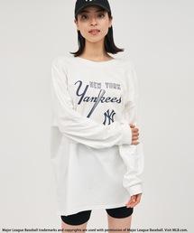 【MLB】バックオープンロングスリーブTシャツオフホワイト