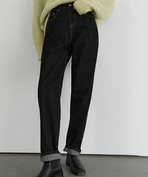 【Fano Studios】 Tapered black denim pants FD20K070