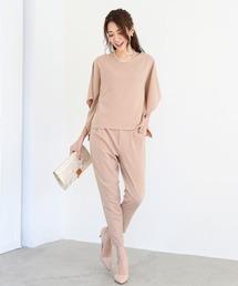 DRESS LAB(ドレスラボ)の共布ベルト付ドルマンセットアップパンツ【3点セット】(ドレス)