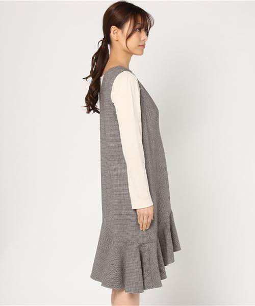 ASYMMETRIC HEM HOUNDSTOOTH DRESS