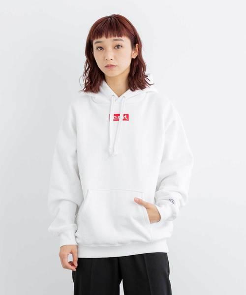X-girl(エックスガール)の「CHAMPION x X-girl SWEAT HOODIE(パーカー)」|ホワイト