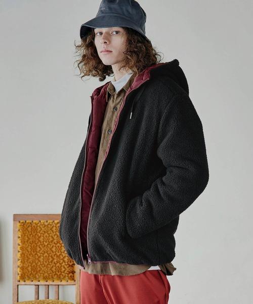 シープボアフリース 中綿リバーシブル フードジャケット