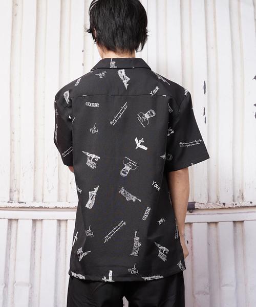 ビッグシルエットモノトーンロゴプリントオープンカラー半袖シャツ(BG)