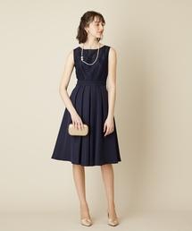AIMER(エメ)のストライプレース刺繍フレアドレス【AIMER】 / 結婚式・2次会(ドレス)