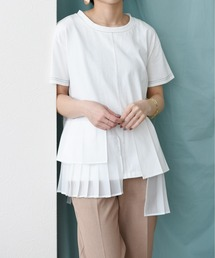 プリーツレイヤードTシャツオフホワイト