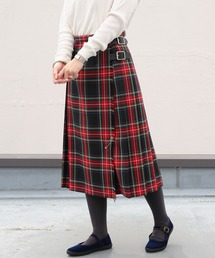 O'NEIL of DUBLIN/オニールオブダブリン タータンミドルニットスカート TARTAN MIDDLE KILT #12477レッド