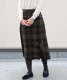 O'NEIL of DUBLIN/オニールオブダブリン タータンミドルニットスカート TARTAN MIDDLE KILT #12477オリーブ