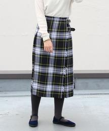 O'NEIL of DUBLIN/オニールオブダブリン タータンミドルニットスカート TARTAN MIDDLE KILT #12477グリーン