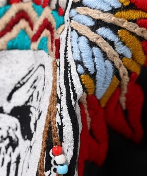 Indianhead T 刺繍 ビーズ付き スカルT