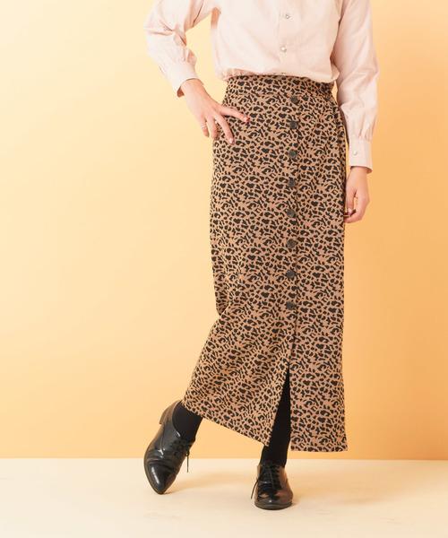 斜め釦リブロングスカート