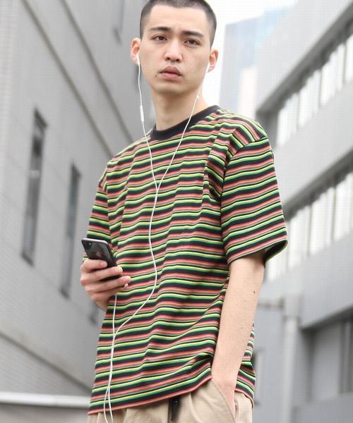ビッグシルエットマルチボーダーTシャツ2(UTILITY LINE)