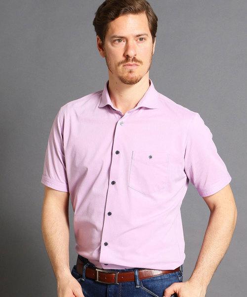 MONSIEUR NICOLE(ムッシュニコル)の「ショートカッタウェイカラー半袖シャツ(シャツ/ブラウス)」 ラベンダー