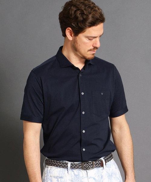 MONSIEUR NICOLE(ムッシュニコル)の「ショートカッタウェイカラー半袖シャツ(シャツ/ブラウス)」 ネイビー
