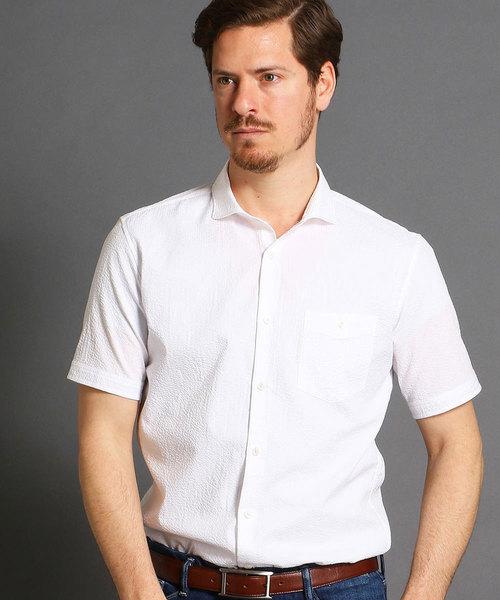 MONSIEUR NICOLE(ムッシュニコル)の「ショートカッタウェイカラー半袖シャツ(シャツ/ブラウス)」 ホワイト