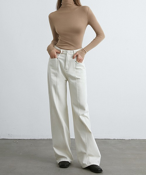 【chuclla】【2021/AW】High waist white denim chw21a071