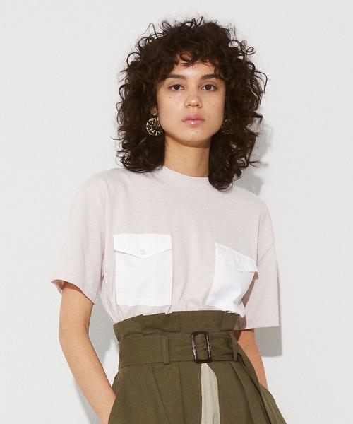 ECLIN(エクラン)の「ダブルポケットTシャツ(Tシャツ/カットソー)」 ベージュ