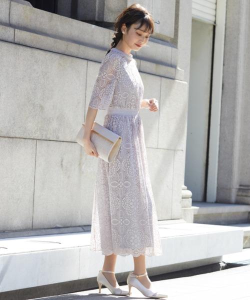 ヴィンテージ風幾何学模様レースワンピースドレス