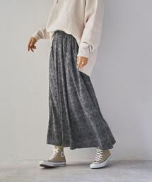 ダマスクプリントロングスカート