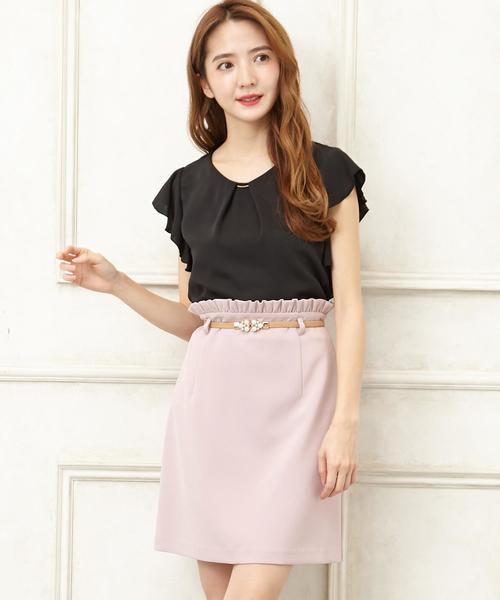 装飾ベルト付き台形スカート